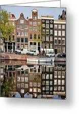 Amsterdam Houses By The Singel Canal Greeting Card