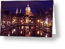 Amsterdam In The Netherlands By Night Greeting Card
