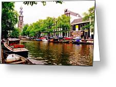 Amsterdams Westerkerk From The Canal  Greeting Card