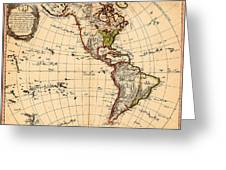 Amtique Map Americas Greeting Card