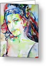 Amy Winehouse Watercolor Portrait.1 Greeting Card