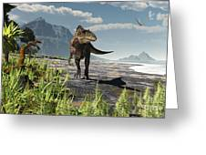 An Acrocanthosaurus Roams An Early Greeting Card by Arthur Dorety