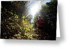 An Adult Woman Trail Running Greeting Card