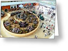 An Aerial View Of The Marina Bay Sands Hotel Lobby Singapore Greeting Card