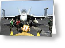 An Aircraft Director Signals Greeting Card by Stocktrek Images