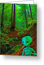 An Alien In A Cosmic Forest Of Time Greeting Card