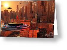 An Alien Race Migrating Greeting Card by Mark Stevenson