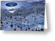 An Alien Reptoid Being Signaling Greeting Card by Mark Stevenson