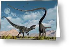 An Allosaurus In A Deadly Battle Greeting Card
