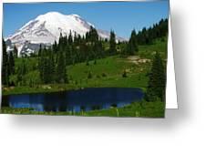 An Alpine Lake Foreground Mt Rainer Greeting Card