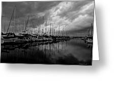 An Approaching Storm - Black And White Greeting Card