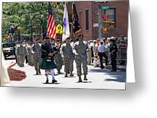 An Army Battalion Marching In The 200th Anniversary St. Patrick Old Cathedral Parade Greeting Card