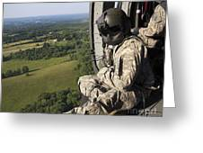 An Army Crew Chief Looks Out The Door Greeting Card