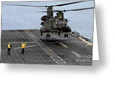 An Army Mh-47g Chinook Conducts Deck Greeting Card