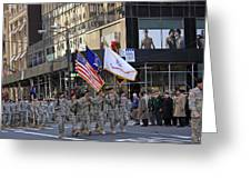 An Army Outfit Marching In The 2009 New York St. Patrick Day Parade Greeting Card