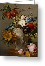 An Arrangement With Flowers Greeting Card by Georgius Jacobus Johannes van Os