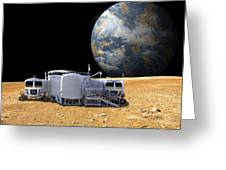 An Artists Depiction Of A Lunar Base Greeting Card