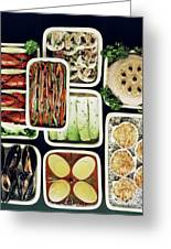 An Assortment Of Food In Containers Greeting Card