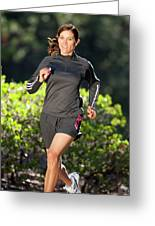 An Athletic Woman Trail Running Greeting Card