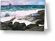 An Egret's View Seascape Greeting Card