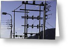 An Electric Transmission Pole In The Himalayas Greeting Card