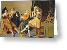 An Elegant Company Playing Music In An Greeting Card by Dirck Hals
