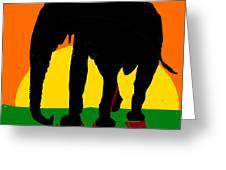 An Elephant And Sun Greeting Card