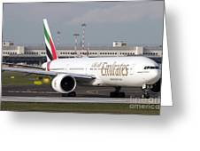 An Emirates Boeing 777 At Milano Greeting Card
