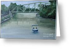 An Evening  Boat Ride On Lachine Canal Greeting Card
