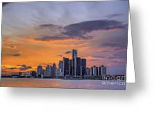An Evening In Detroit Michigan  Greeting Card