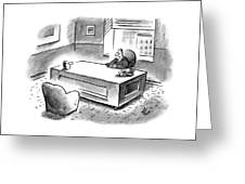 An Executive Sits At His Desk And An Employee's Greeting Card