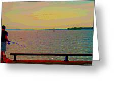 An Expanse Of Sky And Sea Twilight Fishing The Canal St Lawrence River Scenes Art Carole Spandau Greeting Card