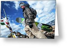 An Extreme Snowboarder Stands Greeting Card
