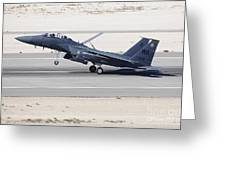 An F-15c Eagle Landing On The Runway Greeting Card