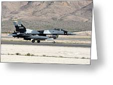 An F-16c Aggressor Jet Landing Greeting Card