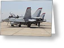 An Fa-18c Hornet Being Readied Greeting Card