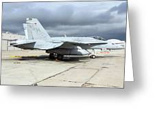 An Fa-18c Hornet On The Ramp At Marine Greeting Card