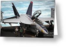 An Fa-18f Super Hornet Sits Greeting Card