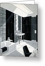 An Illustration Of A Bathroom Greeting Card