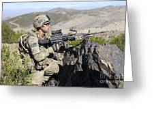 An Infantryman Provides Overwatch Greeting Card