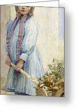 An Italian Peasant Girl Greeting Card by Ada M Shrimpton