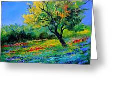 An Oak Amid Flowers In Texas Greeting Card