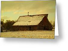An Old Barn Just After An Early Spring Snow In Keene North Dakota  Greeting Card