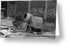 An Old Cement Mixer And Construction Material Greeting Card