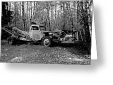 An Old Logging Boom Truck In Black And White Greeting Card