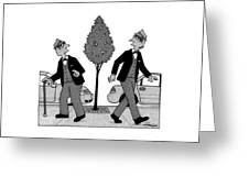 An Old Man And A Young Man Dressed Identically Greeting Card