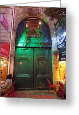 An Old Ornate Wooden Door In Paris France Greeting Card