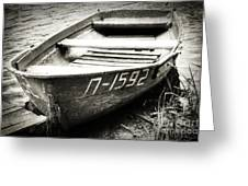 An Old Row Boat In Black And White Greeting Card