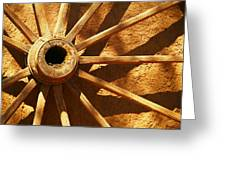 An Old Wagon Wheel In Carillos New Mexico Greeting Card