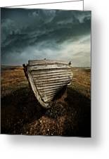 An Old Wreck On The Field. Dramatic Sky In The Background Greeting Card